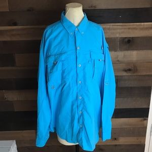 Columbia pfg blue vented long sleeve fishing shirt